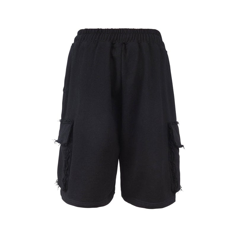 Underwater Raw Edge Shorts Black, asian fashion designer clothing, PROJECTISR, Shorts, UNDERWATER