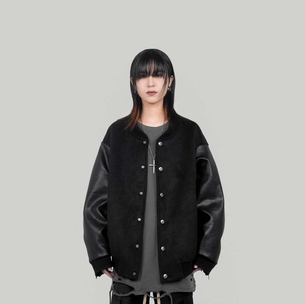 UNDERWATER Faux Leather Sleeves Varsity Jacket - PROJECTISR US