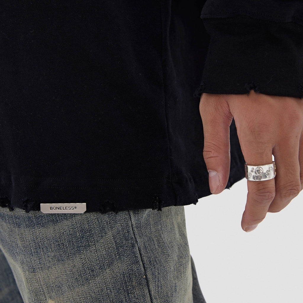 BONELESS Ripped Edges Thin Sweatshirt - PROJECTISR US