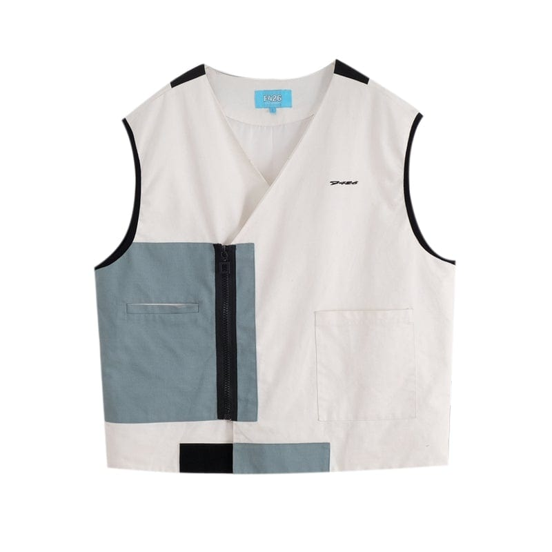 F426 Color Blocks V Neck Vest - PROJECTISR US