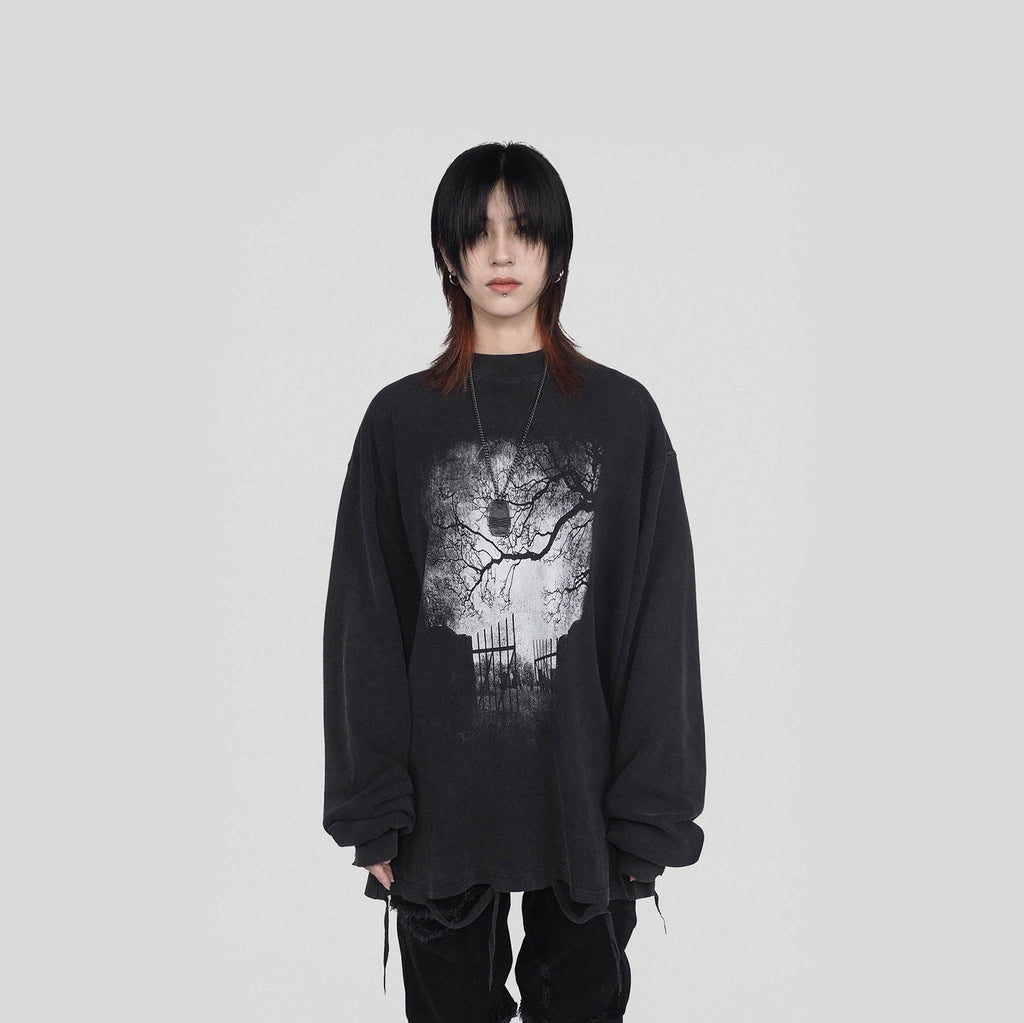UNDERWATER Tree L/S T-shirt, asian fashion designer clothing, PROJECTISR, L/S Tee, UNDERWATER