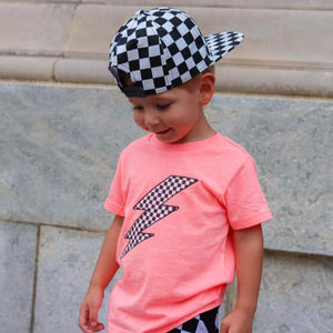 Toddler Unisex Flamingo Checkered Lightning Bolt T-Shirt