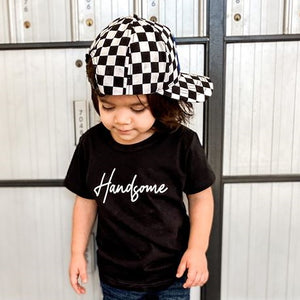 Toddler Boys Handsome Graphic Black Short Sleeve T-Shirt