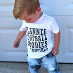 Load image into Gallery viewer, Flannel Football Hoodies Toddler Boys white graphic shirt
