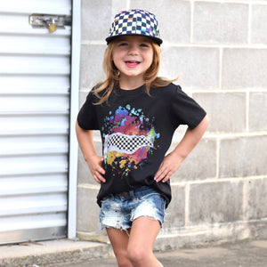 Girls Graphic black short sleeve tee shirt with splatter paint and checkered pattern