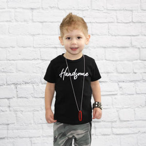 Boys Black Tee with Handsome Graphic