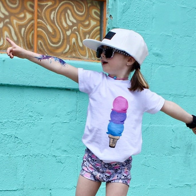 White Summer kids shirt with colorful ice cream cone from small shop Pelican Roe