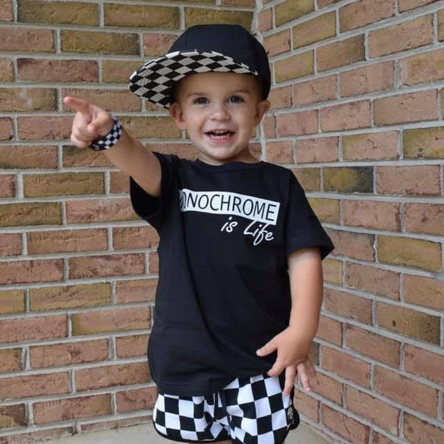 Monochrome is life black and white short sleeve shirt for kids