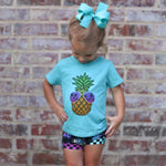 Load image into Gallery viewer, Pineapple wearing sunglasses on a short sleeve team tee for kids