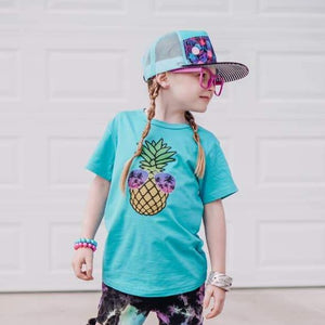 Pineapple with Sunglasses girl graphic on teal short sleeve