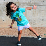 Load image into Gallery viewer, Pineapple with sunglasses teal kids tee shirt in carribean blue