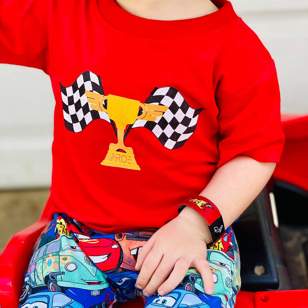 Piston cup racing shirt with checkered flags