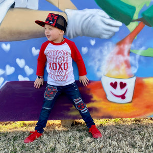 Red and white raglan xoxo valentines day toddler shirt