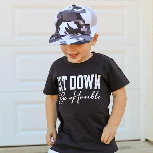 Toddler Boys Sit Down Be Humble Graphic Black Short Sleeve T-Shirt