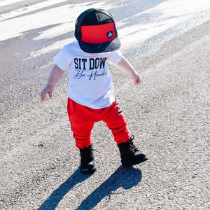 White Sit Down Be Humble Toddler Tee