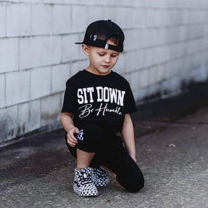 Sit down be humble black and white shirt
