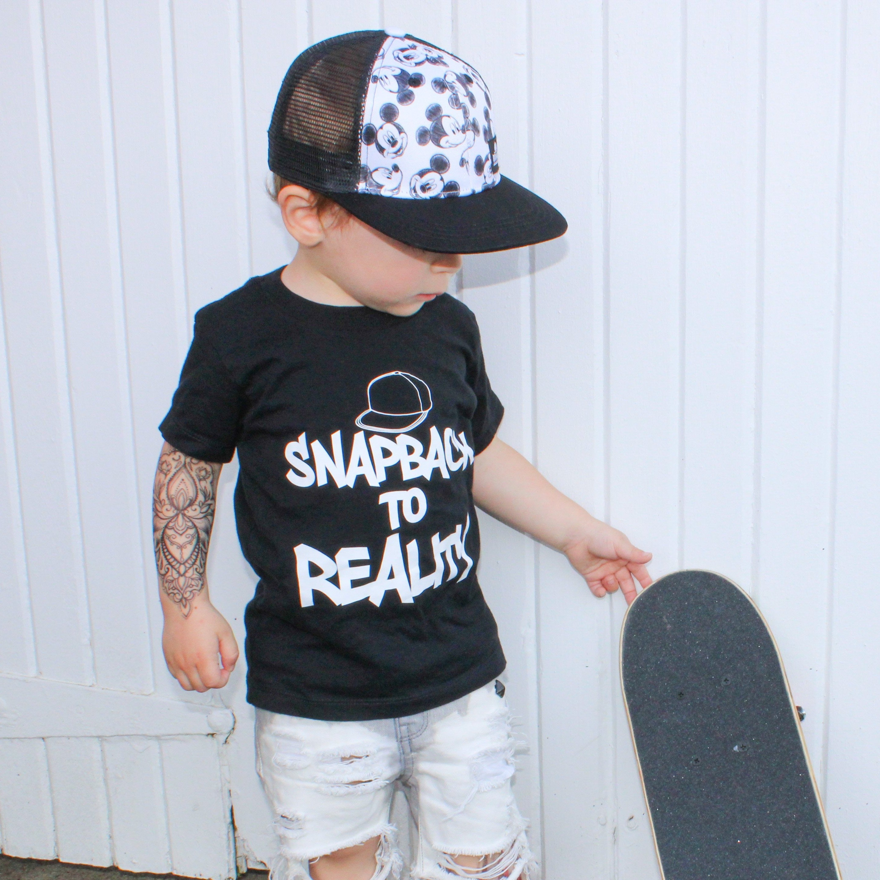 Toddler Boys Snapback to Reality Graphic Black Short Sleeve T-Shirt