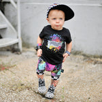 Load image into Gallery viewer, Toddler Graphic short sleeve black shirt checkered rip with paint splatter by Pelican Roe