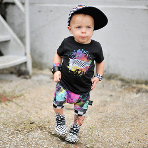 Toddler Graphic short sleeve black shirt checkered rip with paint splatter by Pelican Roe