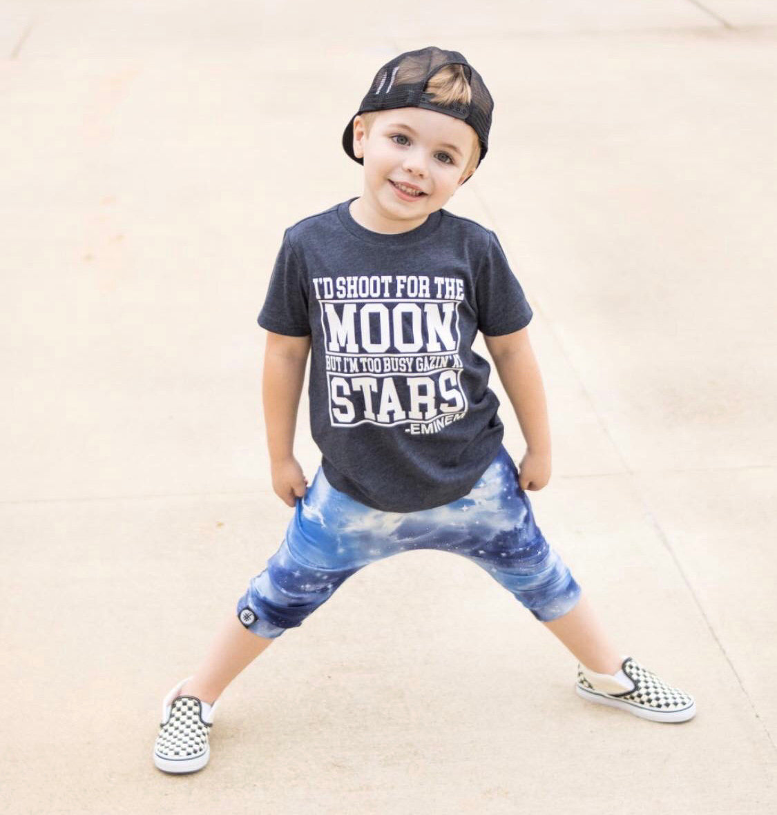 Toddler Boys Shoot for the Moon Graphic Navy Short Sleeve T-Shirt