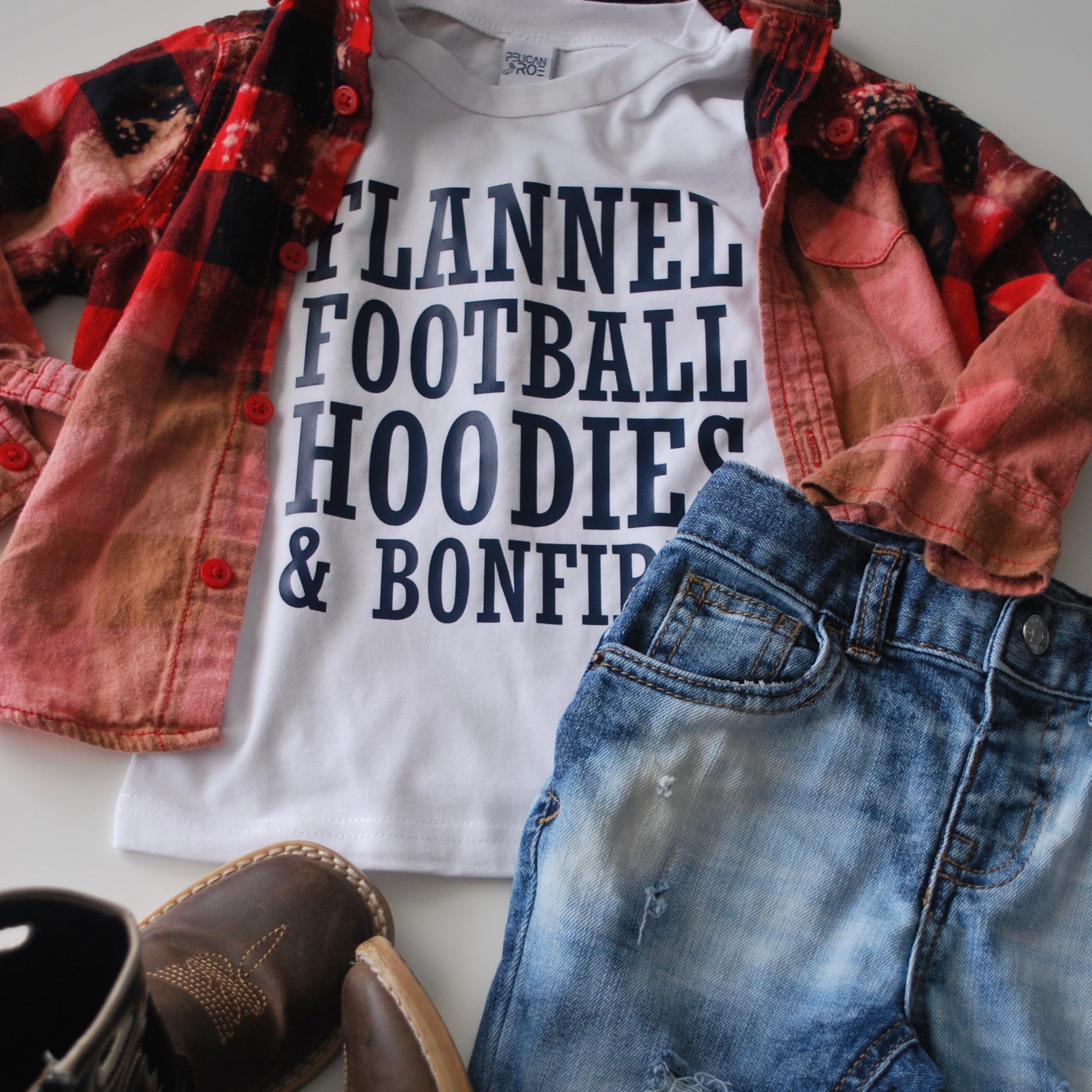Flannel, Football, Hoodies and Bonfires White Tee