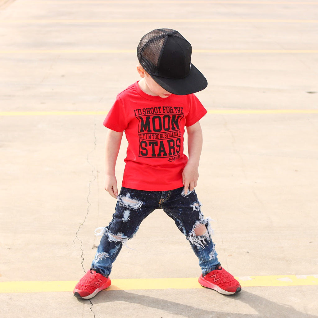 Toddler Shoot for the Moon Graphic Red Short Sleeve T-Shirt