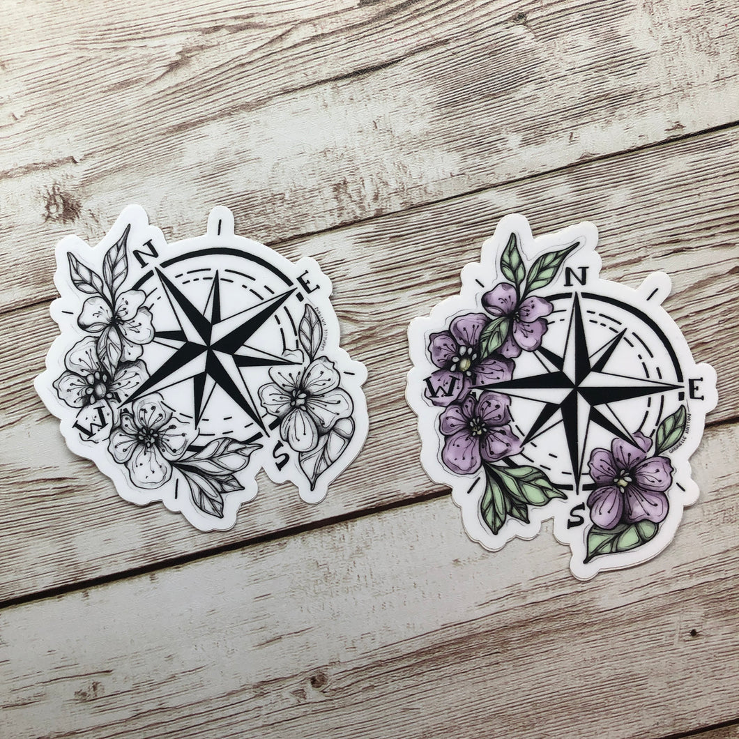 Botanical Compass - Vinyl Sticker