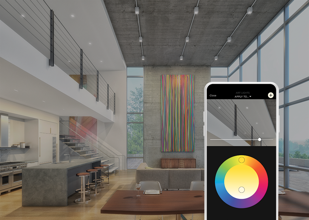 Interior of modern home with a smart phone displaying lighting app and color wheel to adjust lighting