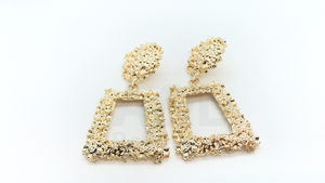 Gold Rectangular Textured earring