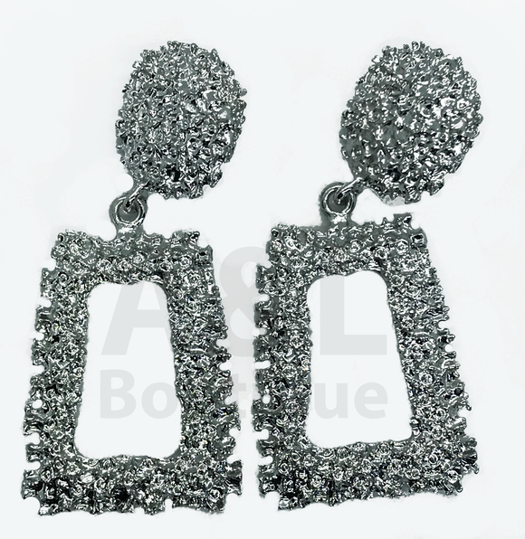 Silver Rectangular Textured earring