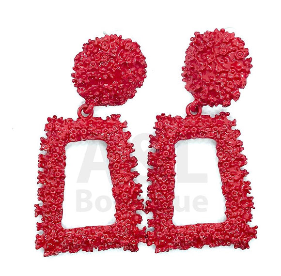 Red Rectangular Textured earring