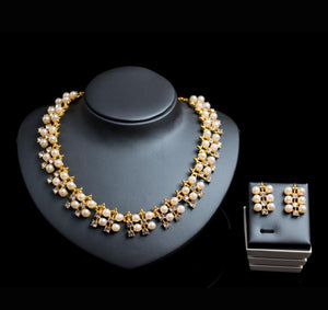 Gold Plated Faux Pearl Jewelry Set