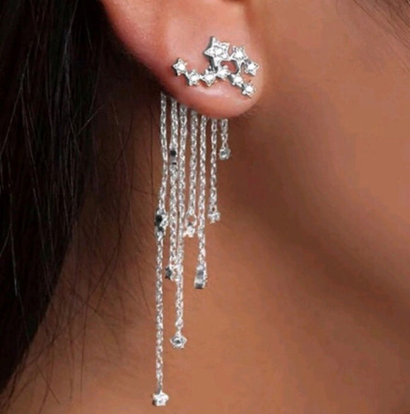 Silver Star Front-Back dangling earring