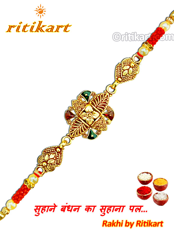 Royal Green and Red Stone Golden Metal Rakhi