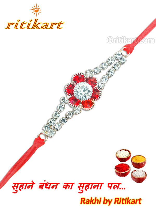 White And Red Stone Designer Rakhi