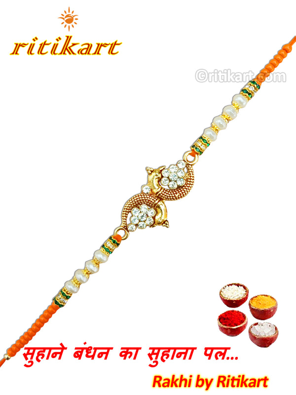 Fancy Golden Peacock with Stone Designer Rakhi
