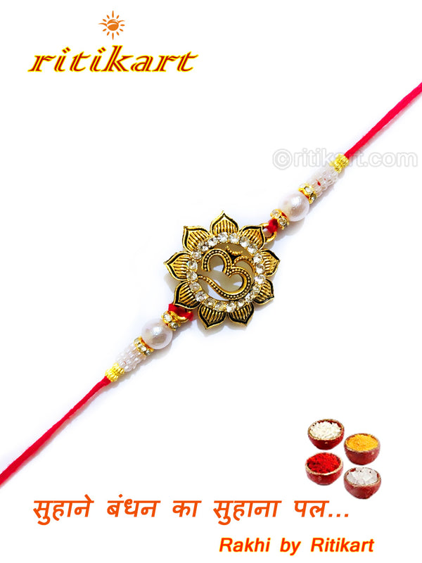 Designer Om Rakhi Golden Colour