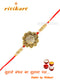 Golden Color flower design Rakhi with white stone