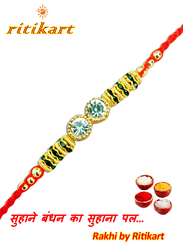 Designer Crystal with Golden and Green Beads Rakhi
