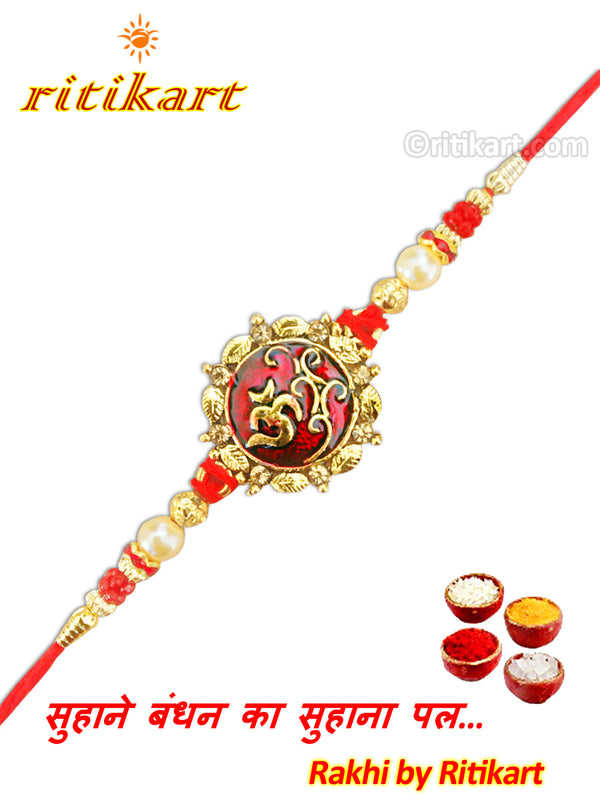 Religious Omm Rakhi with Red and Golden Beads