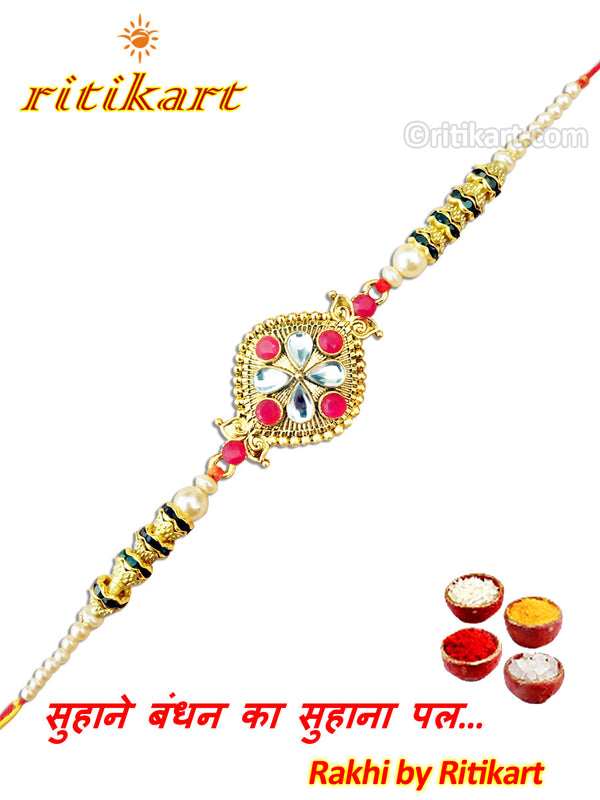 Designer Kundan With Multi Colour Beads Rakhi