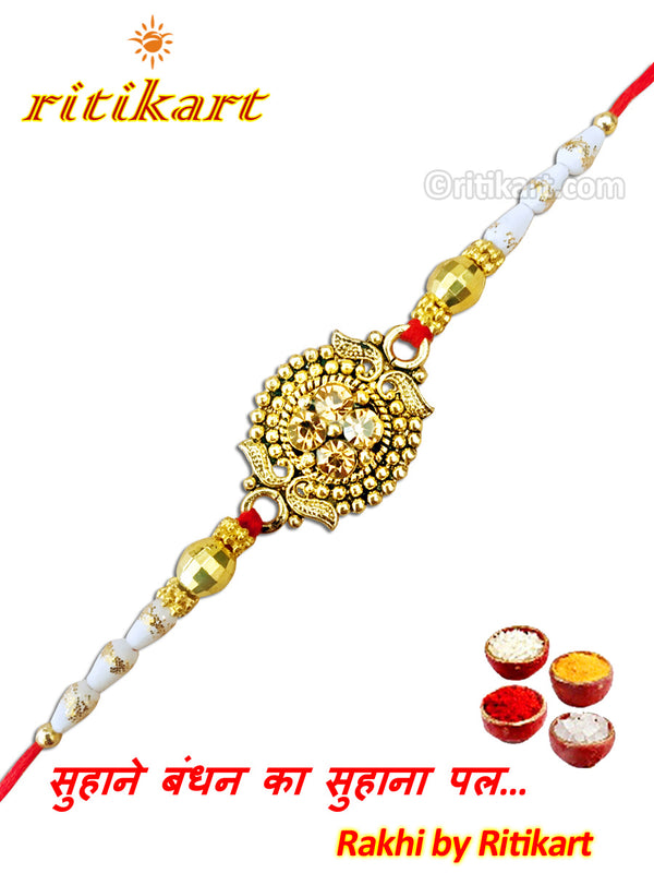 Designer Golden Crystal Rakhi