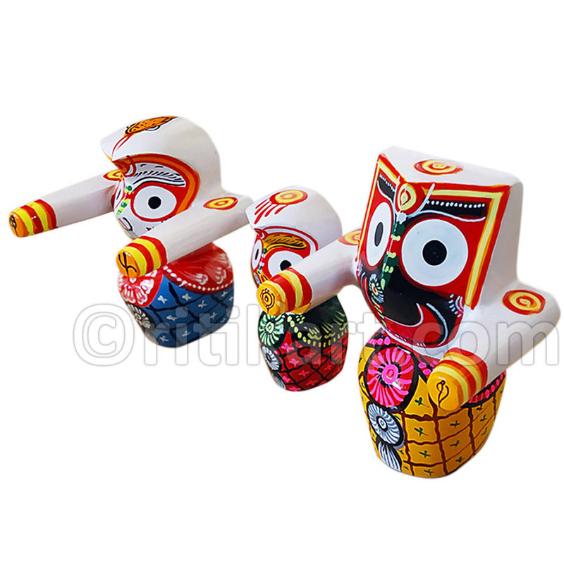 Jagannath, Balabhadra & Subhadra Wooden Idol 4 Inch Height-pc4