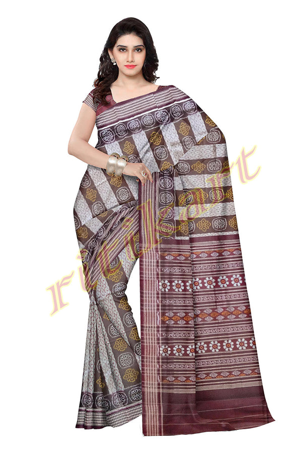 Sambalpuri Maroon and White Strip Design Saree