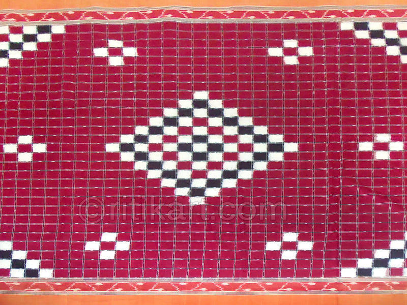 Sambalpuri Maroon Color Double Bed Cover with Pillow Cover-pic4