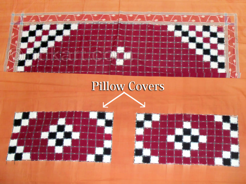 Sambalpuri Maroon Color Double Bed Cover with Pillow Cover-pic2