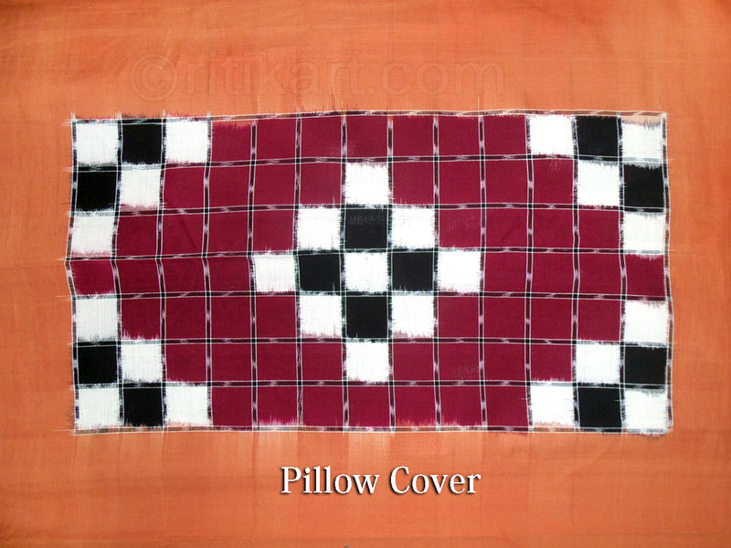 Sambalpuri Maroon Color Double Bed Cover with Pillow Cover
