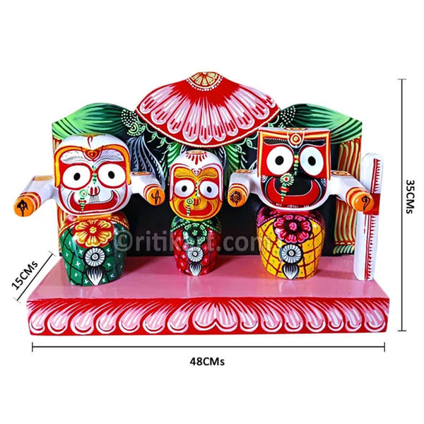 Lord Jagannath Balabhadra Subhadra idol 8 Inch With Prabha pic-1
