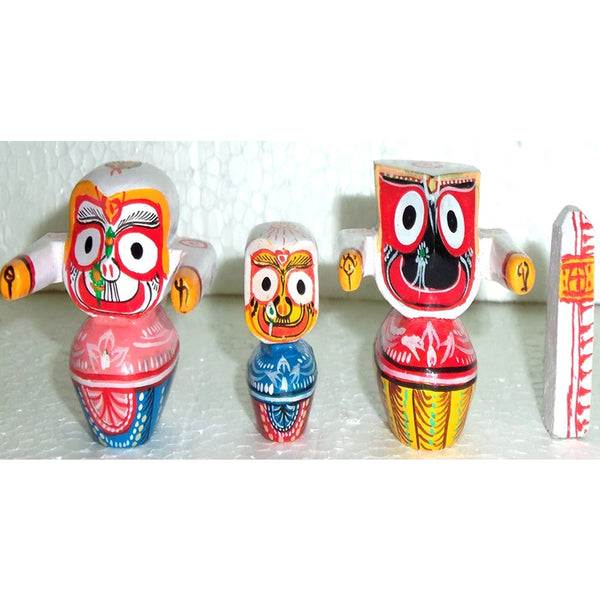 Jagannath Balabhadra Subhadra Wooden Idol Height 5 CMs-pc1