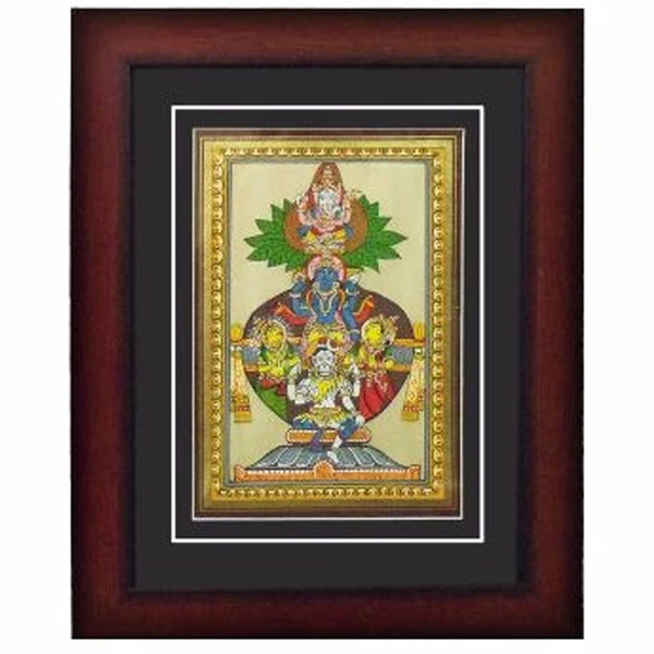 Folk Art of Tridev  Canvas Tasar Painting With Photo Frame